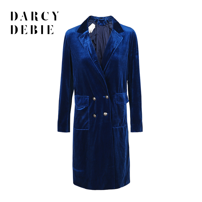 Darcydebie Blue Casual Women Velvet Coat Loose Double Breasted Female   Trench   Coat Elegant Vintage Chic Basic Outwear Coat