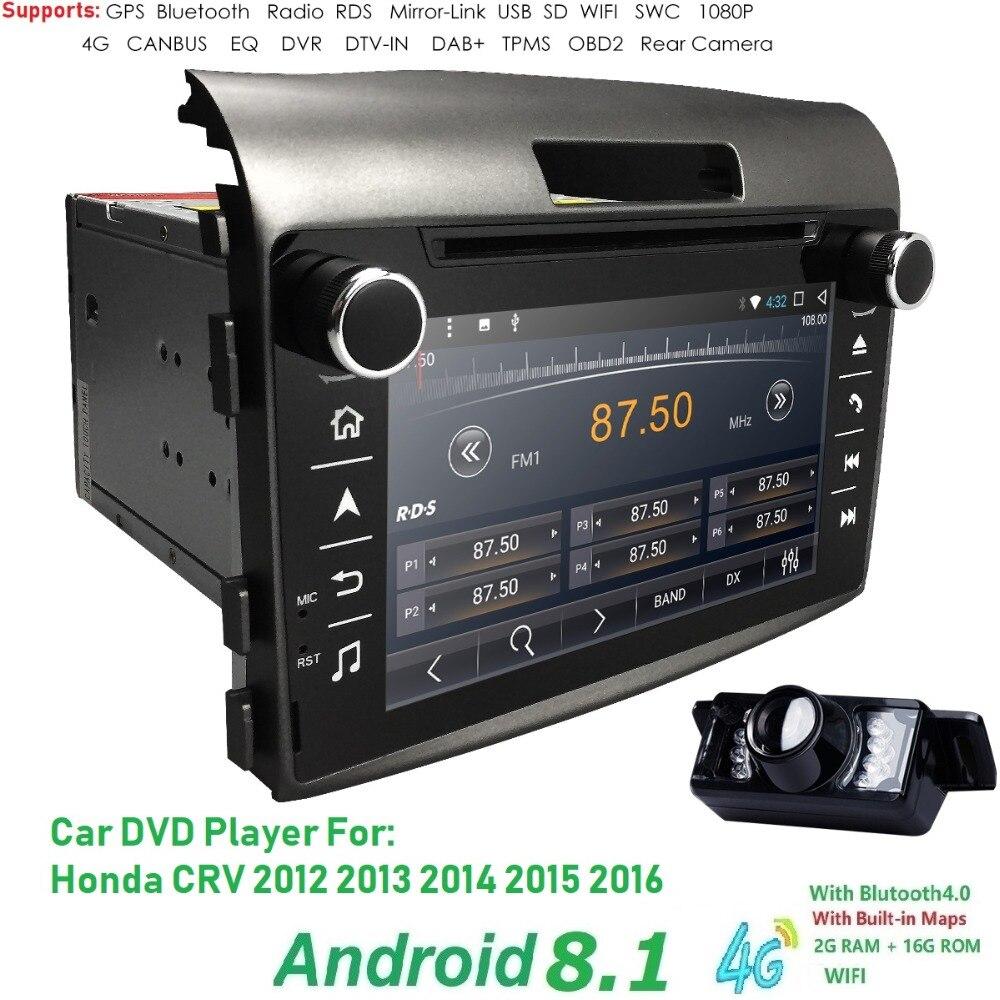4 QuadCore 7 ''2 din voiture auto radio android 8.1 Lecteur dvd de Voiture Pour Honda crv cr-v 2012-2016 4g WIFI GPS Navigation DAB DVR CAMÉRA