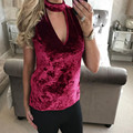 New Arrival Womens Velvet T Shirt Women Sleeveless Choker V Neck Sexy Tee Tops For Women camisas femininas #1214