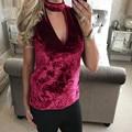 Nova Chegada Das Mulheres de Veludo T Shirt Sem Mangas Mulheres Gargantilha Pescoço V Sexy Tee Tops Para Mulheres camisas femininas #1214