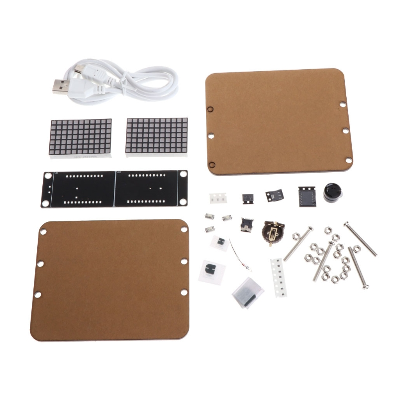 DS3231 DIY Dot Matrix LED Clock Kit Time/Temperature/Date/Alarm Display w Case connect with USB interface for power supply.