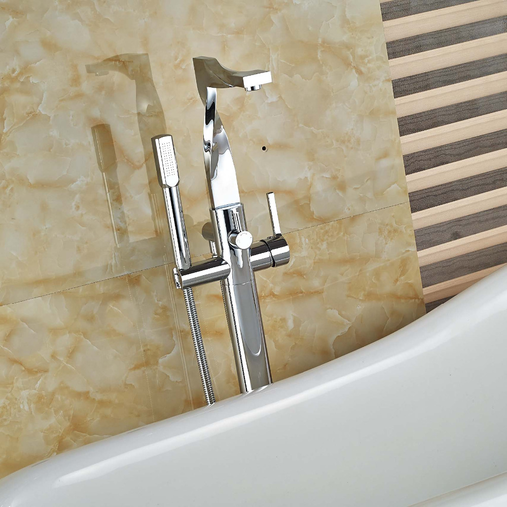 Contemporary New Syle Spout Chrome Brass Bathtub Faucet Bathroom Single Handle Hot and Cold Faucet