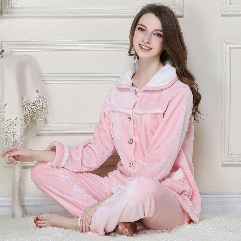 4f0e37d9c CherLemon Homens e Mulheres Velo Coral Pijamas Outono Inverno Casal Pijama  de Flanela Quente Clássico Botão Sólidos Longas Pijama em Conjuntos de  Pijama dos ...