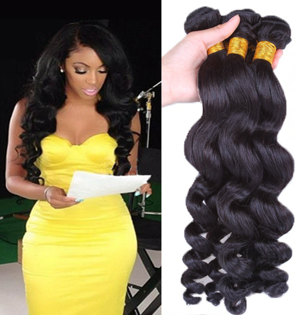 7a Unprocessed Human Hair Weave Bundles Peruvian Loose Wave Virgin