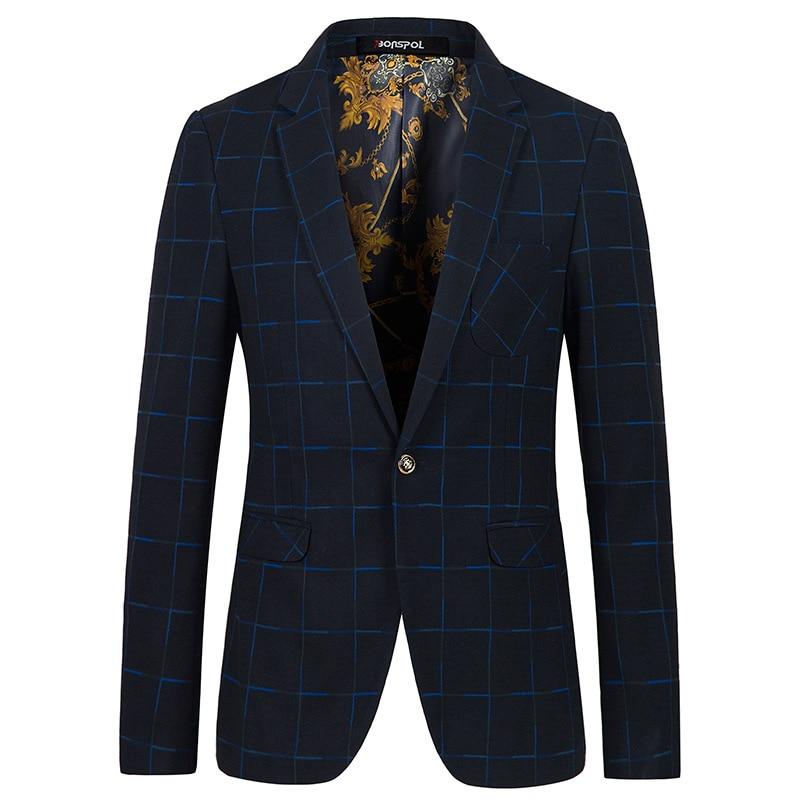 Brands BONSPOL Autumn jackets grid han edition cultivate ones morality leisure mens suit mens Fashion small business suit