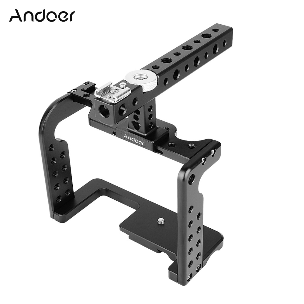Andoer Video Camera Cage Stabilizer w Top Handle for GH5 GH4 DSLR to Mount Mic Monitor