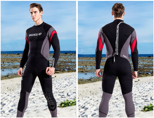 Hisea 1.5mm neoprene mens surf wetsuit one-piece diving suit long-sleeve swimwear black gray contrast- collar002