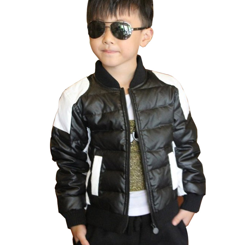 2018 child leather clothing small kid's casual Down boys ...