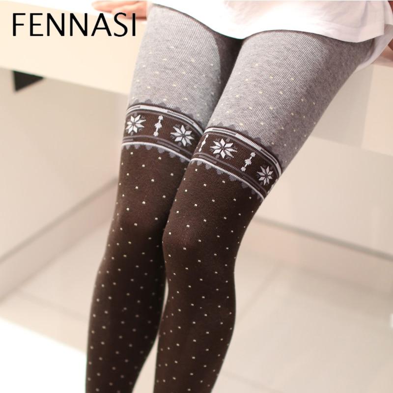 FENNASI Otoño de las mujeres de invierno cálido grueso medias con estampado de lunares de nieve Sexy medias de algodón de las mujeres calentadores de la pierna medias negras