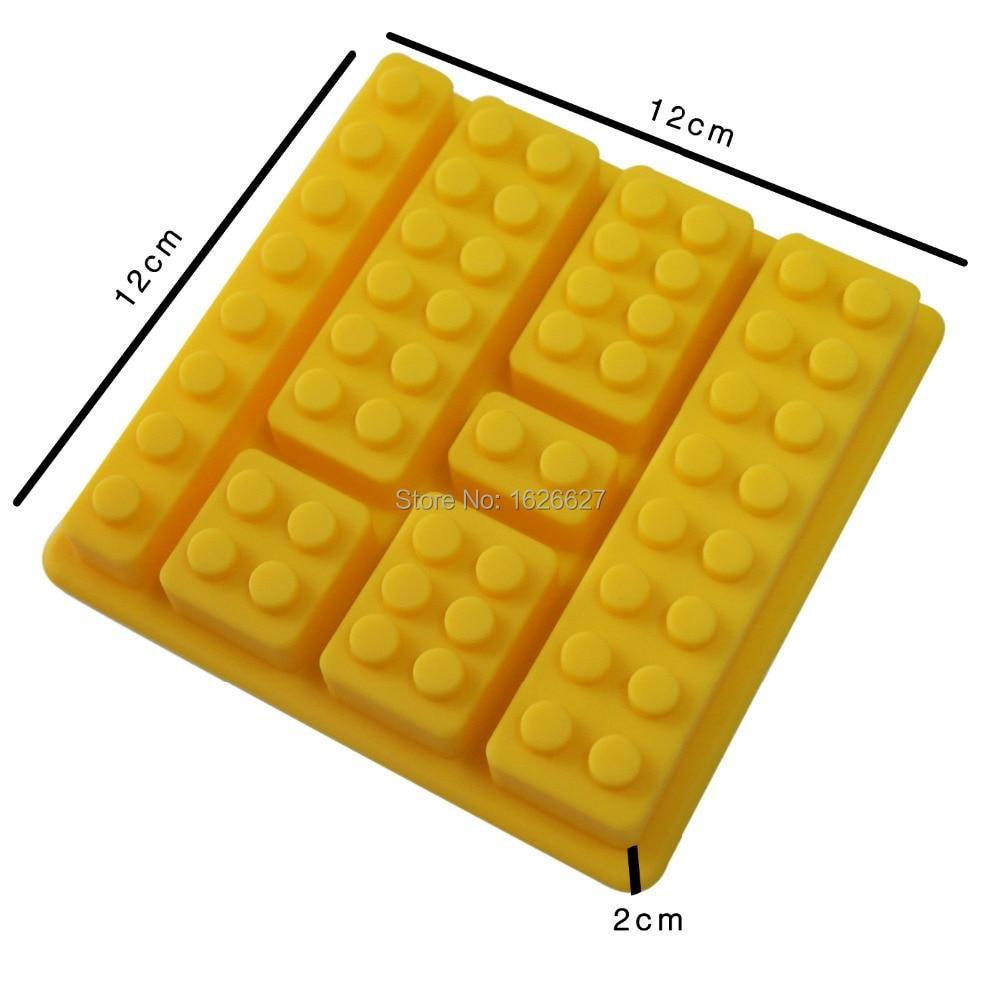 Silicone Ice Mold Cake Decorating Mould Blocks Shaped 7 Bricks Ice Cream Tools Cream Tubs Silicone Mold Cake Mold Color Yellow