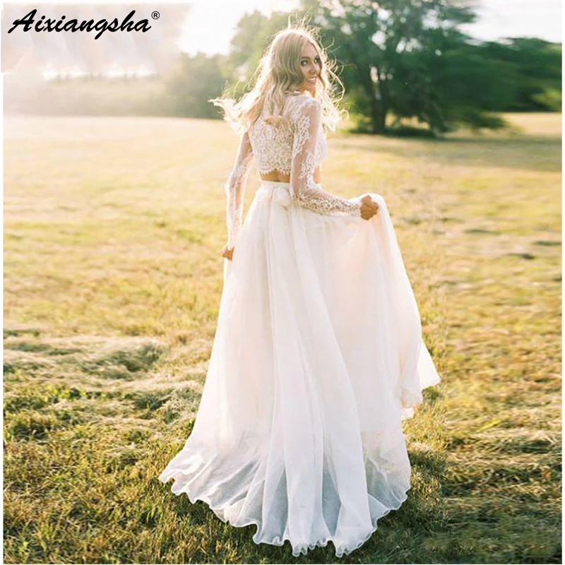 Romantic Fairy Boho Wedding Dress Lace Long Sleeves Chiffon Princess Bride Dress Trouwjurk A-Line Two Piece Wedding Gown 2019