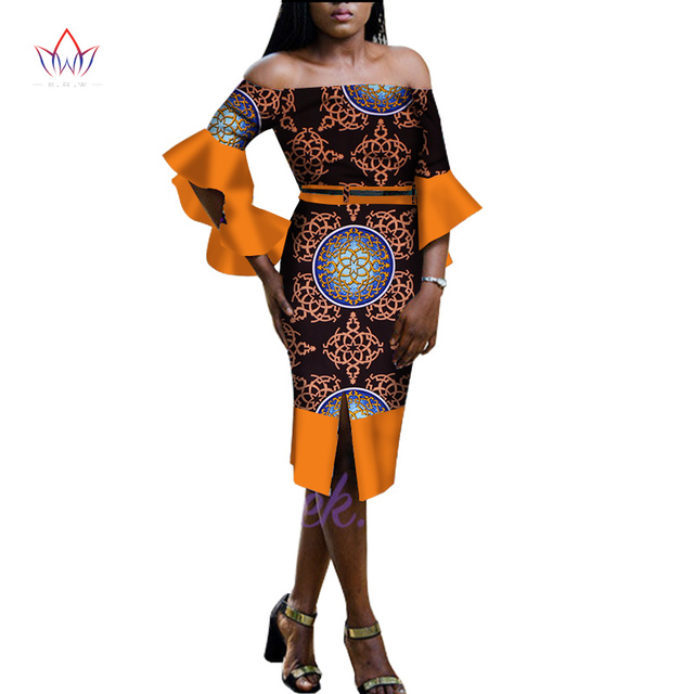 c28d3370410 2018 African Dress for Women Summer Vintage Dress Dashiki african Puff  Sleeve cotton Empire dress party pencil dress none WY1663