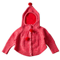 Children's clothing Casual cardigan knitted coat Small and medium sized baby classic with hood wool batwing Sweatshirts