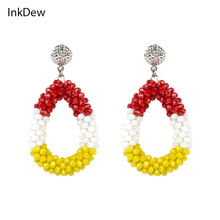 New Arrival Water Drop Earrings for Women Faceted Beads Handmade Crystal Earring Big Earrings Long Earrings vintage Wholesale