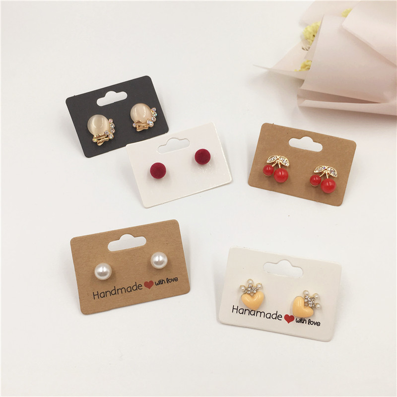 2 Size 100 Pcs Mini Earring Cards Handmade With Love Colorful Earring Cards Hanging Jewelry Display Cards