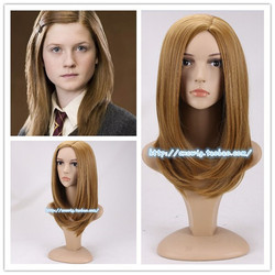 Cosplay Ginny Molly Weasley Blonde Brown Wig Ginny Role Play Synthetic Hair Halloween Costumes + Wig Cap 2 Types