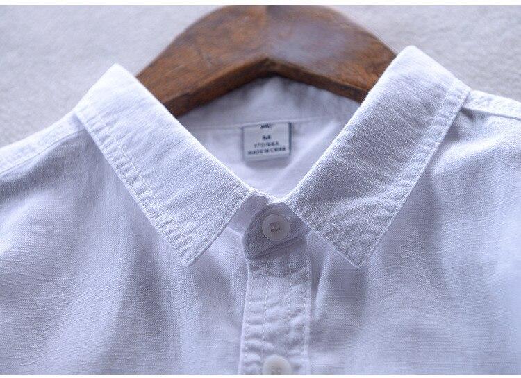 2017 uus moe vabaaja linane särk meestele valge tahke pikkade - Meeste riided - Foto 5