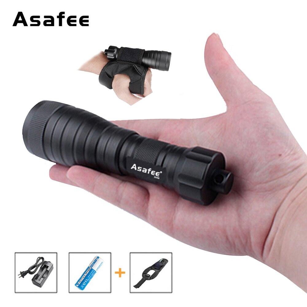 Asafee DIV05 Mini Portable De Poche Super Luminosité lampe de Poche Torche Sous-Marine éclairage de photographie avec bandeau au poignet 18650