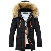 2017 Winter Men S Jackets Fur Collar Long Parkas Men Overcoats Thick Casual Hooded Male Coats