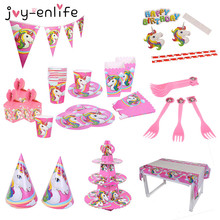 JOY ENLIFE Unicorn Theme Cartoon Party Set Balloon Tableware Plate Napkins Banner Birthday Candy Box font
