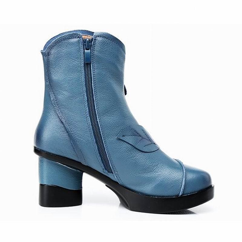 Gktinoo 여성 정품 가죽 부츠 2019 패션 수제 레트로 부츠 하이힐 발목 부츠 여성 소 가죽 꽃 신발-에서앵클 부츠부터 신발 의  그룹 3