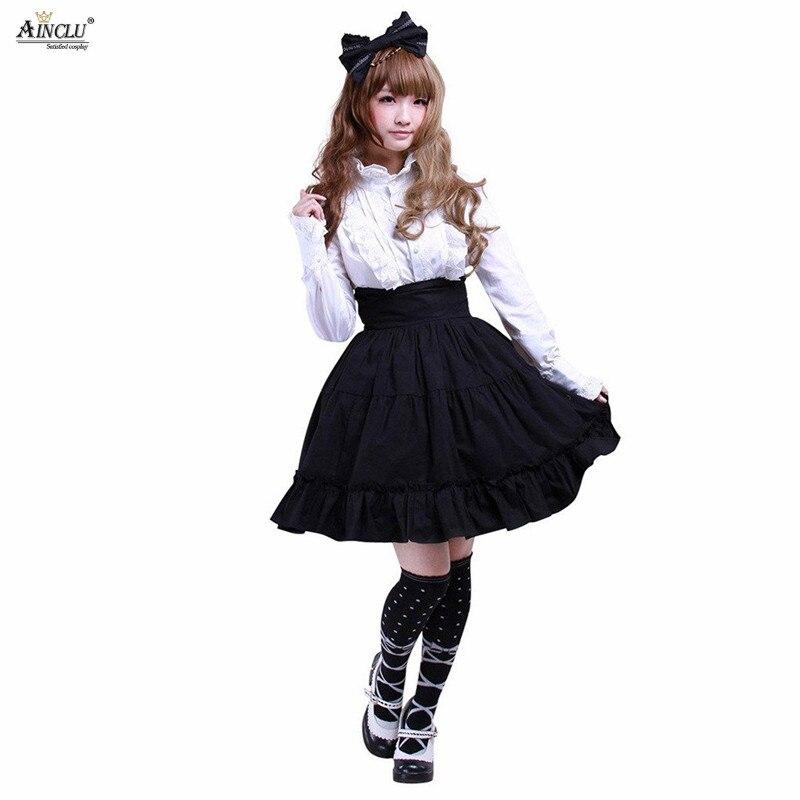 Printemps/été/automne/hiver Ainclu XS-XXL femmes coton noir volants gothique Lolita jupe avec
