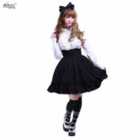 Spring/Summer/Autumn/Winter Ainclu XS XXL Womens Cotton Black Ruffles Gothic Lolita Skirt With European and American Style