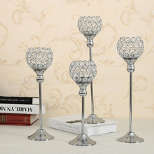 Crystal Tealight Candle Holders Coffee Dining Table Centerpieces Metal Candlesticks Stand Wedding Christmas Halloween Decoration