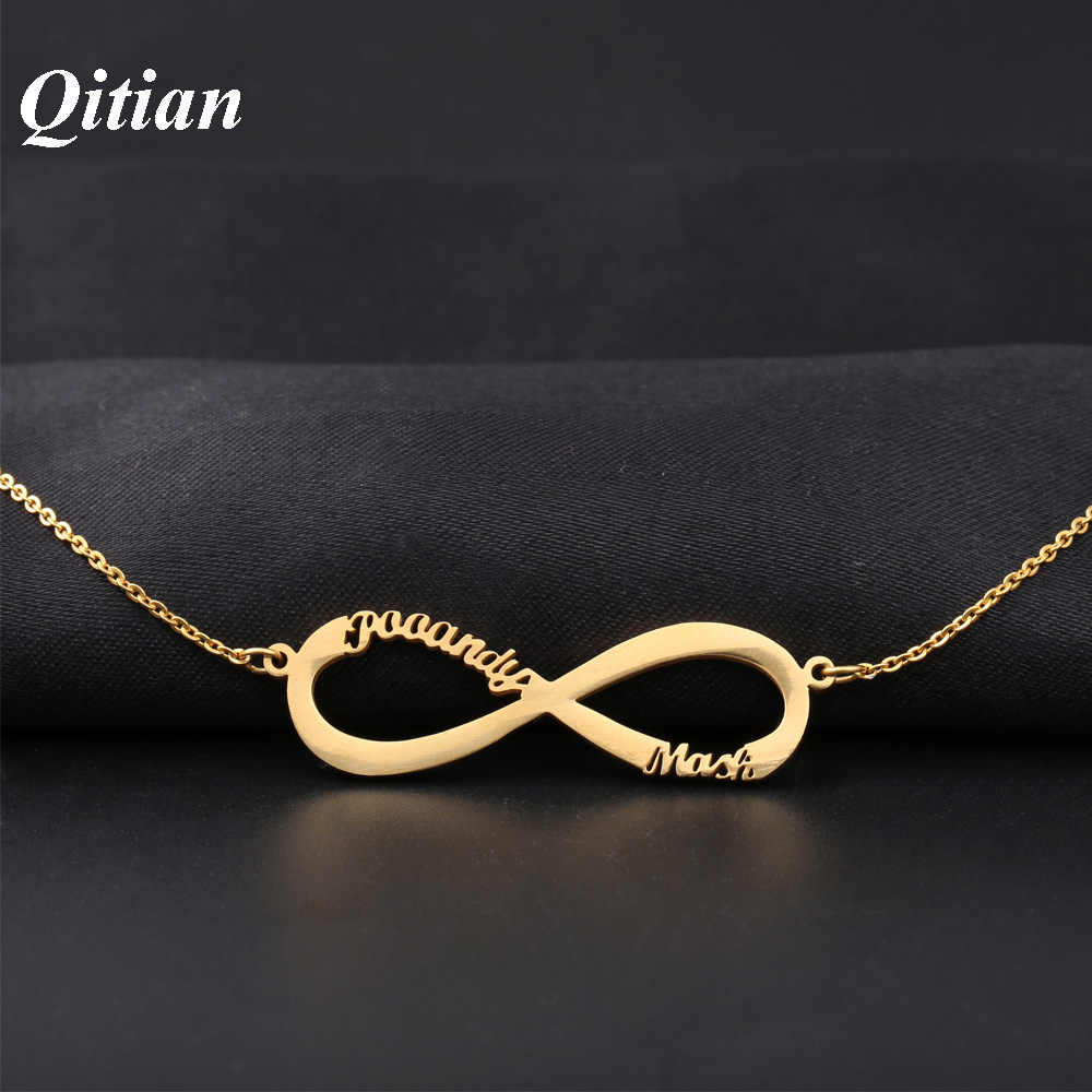 Infinity Name Necklace Rose Gold Color Stainless Steel Choker Custom Necklaces & Infinity Pendant Friendship Necklace For Friend