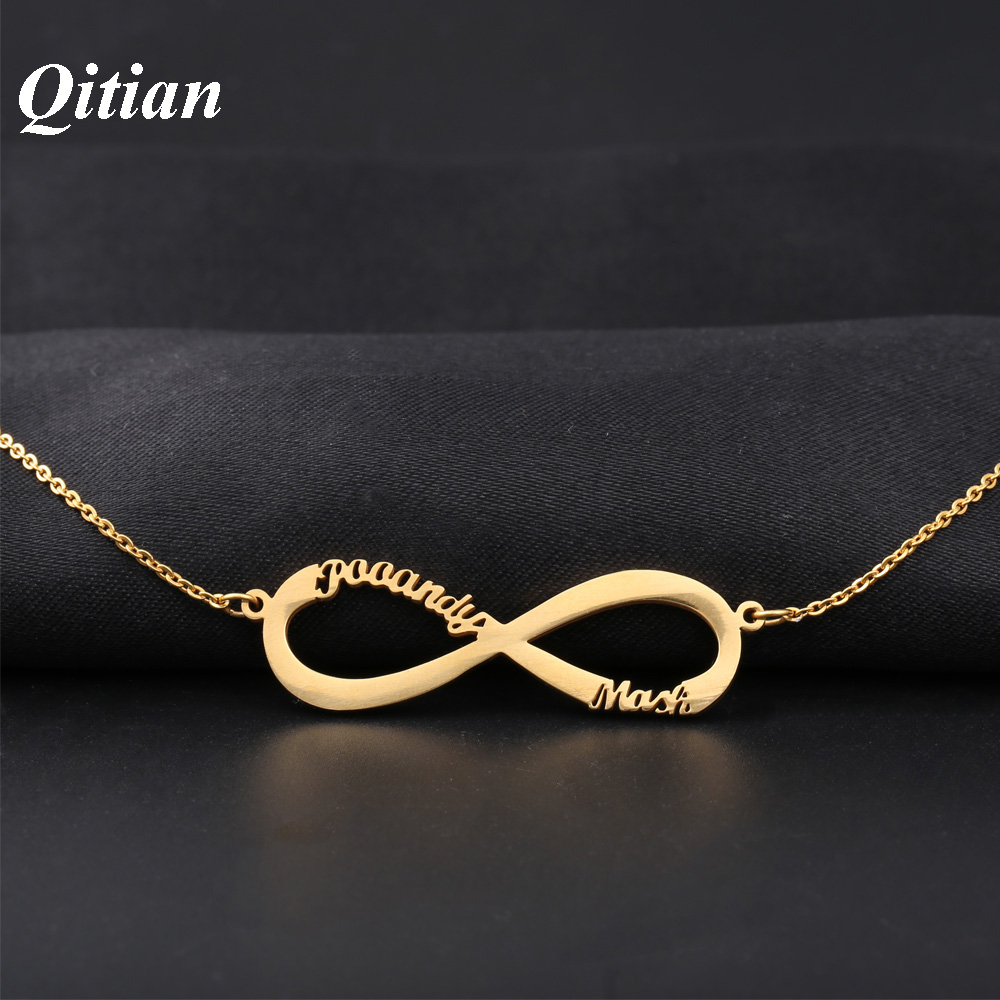 Infinity Name Necklace Gold Color Stainless Steel Choker Custom