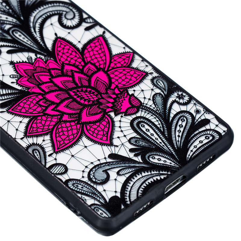 For Huawei P8 Lite Case TPU PC Lace Rose Floral Flower Anti knock Case For Huawei P8 Lite 2015 Cover For Huawei P8 Lite Funda in Fitted Cases from Cellphones Telecommunications