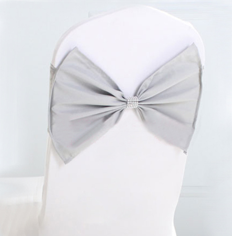 chair covers spandex wedding target folding 100pcs silver lycra stretch band cover bow sash tie with mesh ...