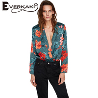 Everkaki Women Floral Print Tops Blouse Casual Green Deep V Neck Long Sleeve Ladies Blouses Shirts