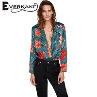Everkaki Mulheres Floral Imprimir Tops Blusa Casual Verde Profundo V pescoço de Manga Comprida Blusas Das Senhoras Camisas Femme 2017 Outono Nova moda