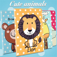 Brand quality animal prints Painted Lion Bunny Bear leather cover for ipad 2 3 4 common sleep stand tablet case