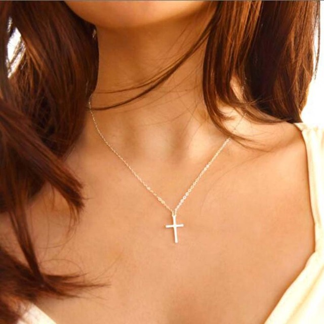 Simple Gold Silver Color Cross Necklace&Pendant Women Fashion Jewelry Minimalist Tiny Chain Choker Necklaces Female Accessories