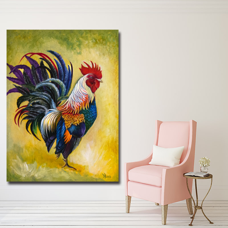 2018 Big Size Oil painting Rooster Chicken Wall Art Handmade Oil ...