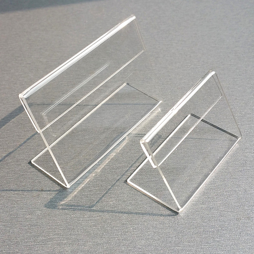 Acrylic T1.3mm Clear Plastic Table Sign Price Tag Label Display Paper Promotion Card Holders Small L Shape Stands 3000pcs