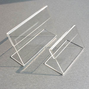 Acrylic T1.3mm Clear Plastic Table Sign Price Tag Label Display Paper Promotion Card Holders Small L Shape Stands 100pcs