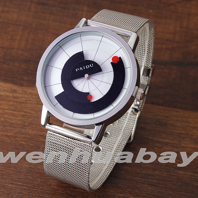 Fashion White/Black New Style Radar Network Icon Dial Steel Net Mesh Band Men Boy Quartz Wrist Watch Gift For Men Boy