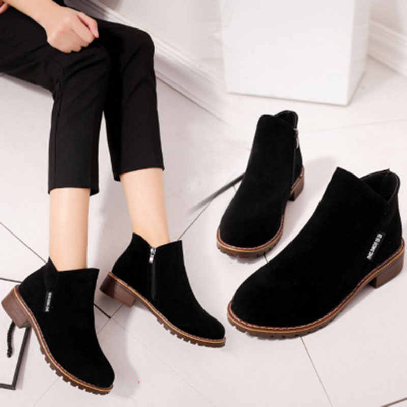 21a49aaaf Ботильоны для женщин 2018 на осень-зиму модная обувь женские на низком  каблуке ботинки на