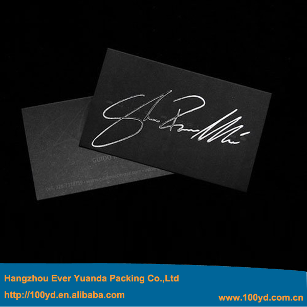Business Cards Printing Hot Silver Stamping 9054mm Thick Visit Name Card Carte De Visite High Grade Custom Black Paper Design