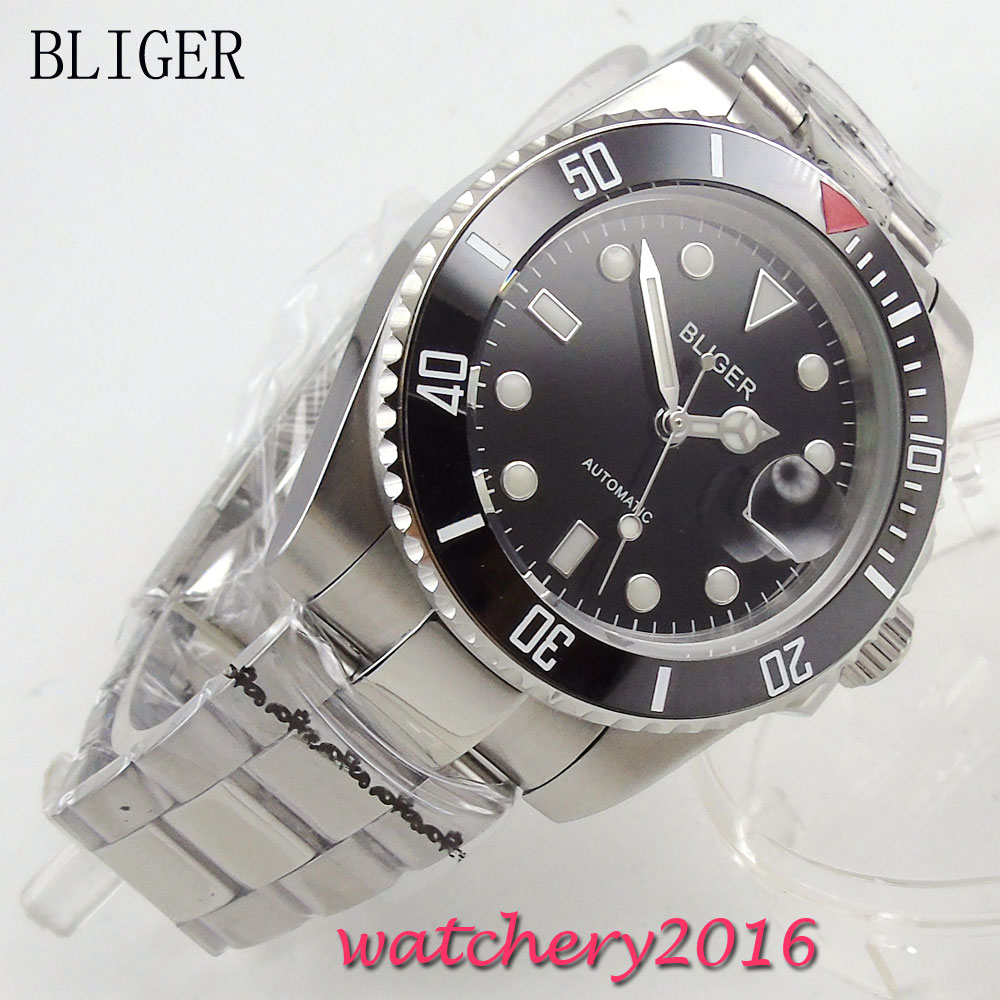 лучшая цена 40mm Bliger black Dial Complete Calendar ceramic bezel Luminous Hand Auto Watch Sapphire Crystal Automatic Mechanical Mens Watch