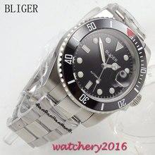 40mm Bliger black Dial Complete Calendar ceramic bezel Luminous Hand Auto Watch Sapphire Crystal Automatic Mechanical Mens Watch