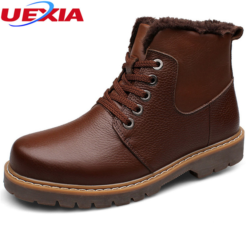 Plus Size Snow Boots for Men Winter Super Warm New Motorcycle Cow Leather Shoes Sport Short Plush Fashion Luxury Martin Boots martin winter boots for men and men s winter snow boots warm cashmere waist leather shoes in winter thickening