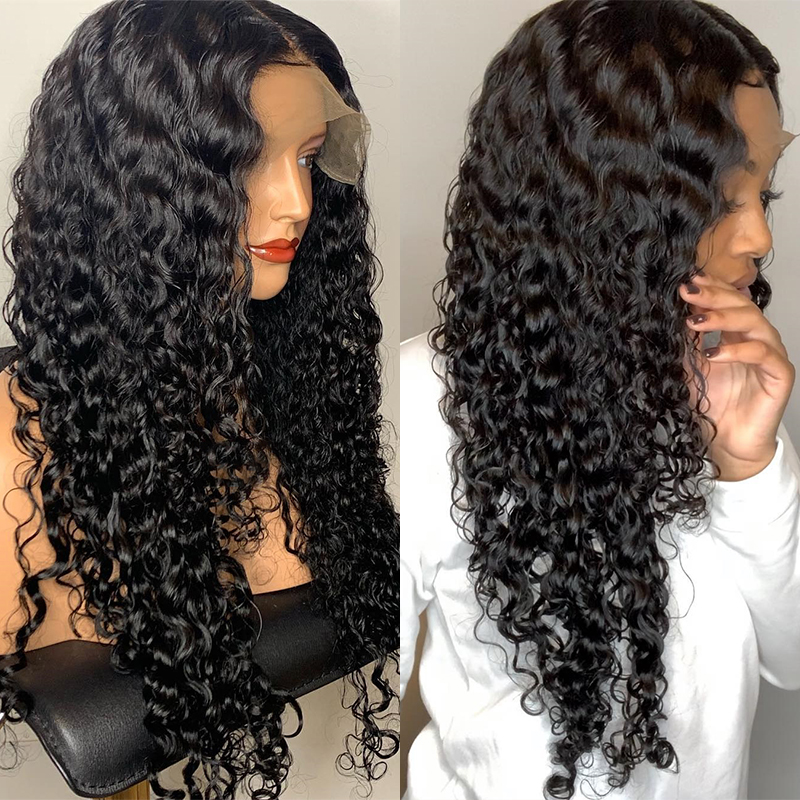 Water Wave 360 Lace Frontal Wig Pre Plucked With Baby Hair Brazilian Remy Lace Front Curly Human Hair Wigs Natural Black CARA image