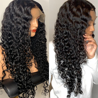 Water Wave 360 Lace Frontal Wig Pre Plucked With Baby Hair Brazilian Remy Lace Front Curly Human Hair Wigs Natural Black CARA
