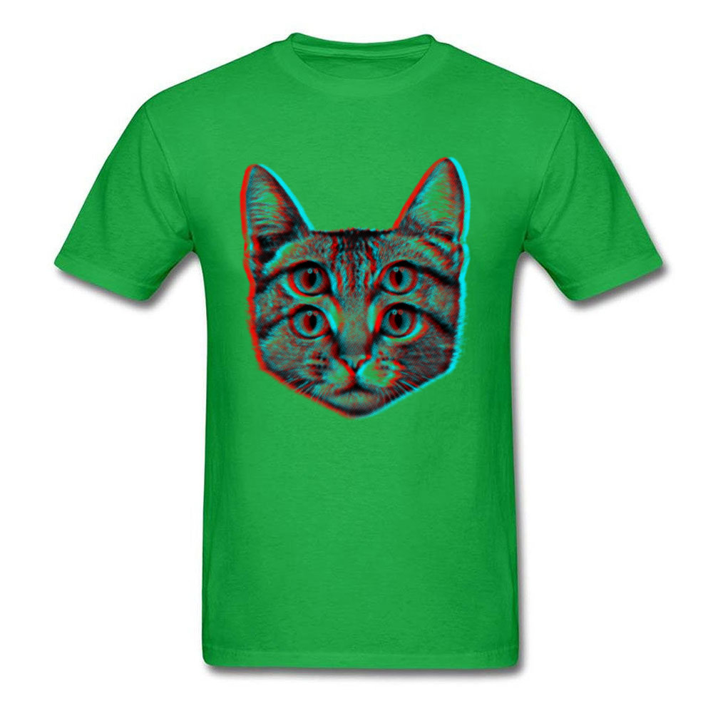 3D Cat Summer/Fall 100% Cotton O-Neck Tops T Shirt Short Sleeve Casual T Shirt 2018 New Funny T Shirt Free Shipping 3D Cat green
