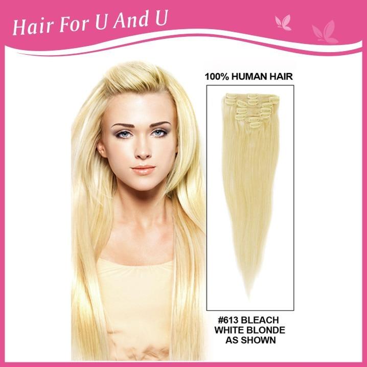 7pcsset Fast Free Shipping Virgin Blonde Full Head Clip Human Hair