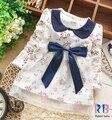 Nuevo cordón de la manera de los bebés de algodón dress big bow bebés niza floral viste el envío libre